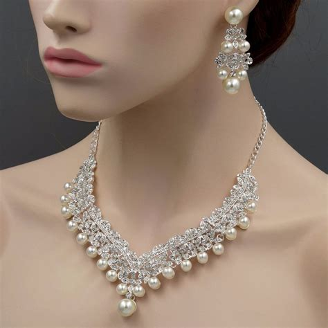 Wedding Jewelry by Silver Plated Pearl Necklace Earrings Bridal