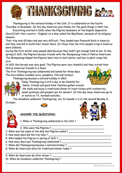 thanksgiving key worksheet free esl printable