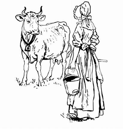 Coloring Cow Dutch Lady Milking Colorluna Want