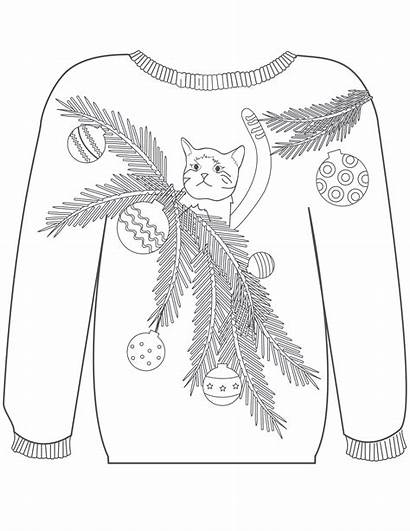 Ugly Coloring Christmas Pages Sweaters Cat Sweater