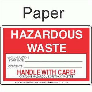 Hazardous waste hwa 6x4 paper labels for 6x4 labels