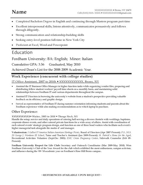 Entry Level Student Resume by Entry Level Resume Sles Resume Prime