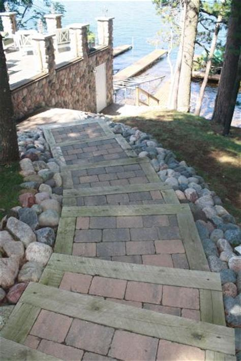 Landscape Timber Steps with Pavers