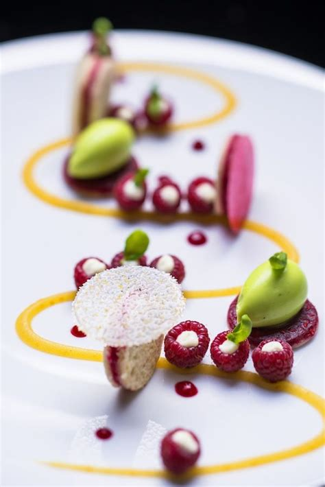 cuisine calisson merveilleux tea au burgundy plated desserts food