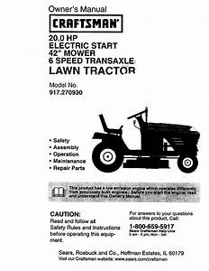 Craftsman 917270930 User Manual Tractor Manuals And Guides