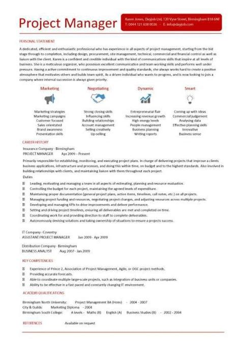 Project Manager Cv Sle by Project Management Cv Template Management Templates
