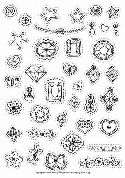 Crowns Decorate Coloring Stickers Crown Pages Decorations
