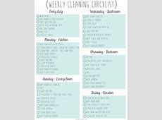Free Downloadable – Weekly Cleaning Checklist