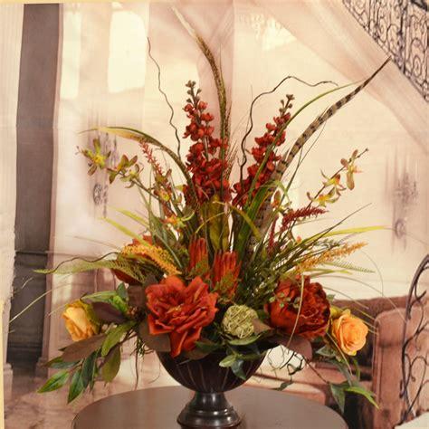 deep red  gold large silk flower arrangement  feathers ar floral home decor silk