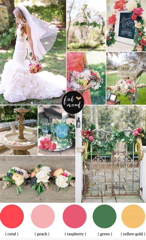 garden wedding ideas coral and raspberry wedding