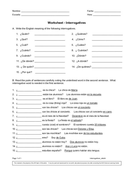17 Best Images Of Spanish Interrogatives Worksheetpdf