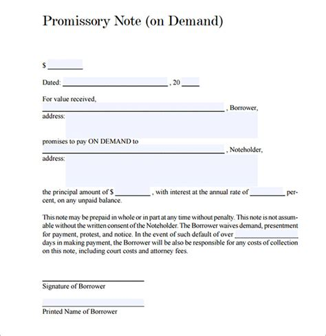 free promissory note template for personal loan 27 promissory note templates sle templates