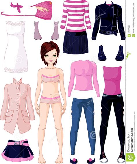 paper doll  clothing stock vector illustration
