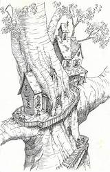Coloring Tree Pages Treehouse Drawing Drawings Magic Colouring Sketchbook Treehouses Adults Houses Sketches Fantasy Fairy Sketch Magical Adult Ink Printable sketch template