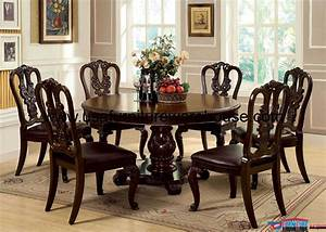 7, piece, bellagio, round, dining, set, with, wooden, side, chair