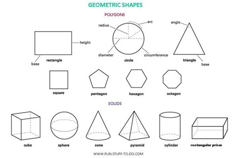 names of polygons geometric shapes worksheets free to