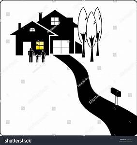House Silhouette With Family Stock Vector Illustration ...