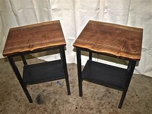 LIVE EDGE WALNUT END TABLES WITH STEEL BASE & SHELF