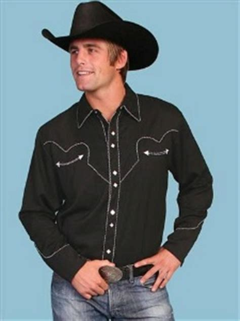 scully mens vintage western shirt classic black  white
