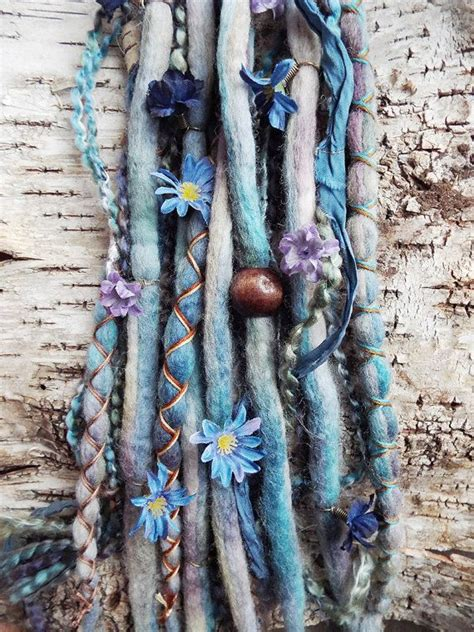 Custom Tie Dye Floral Wool Dreadlock Extensions 10pc Tie