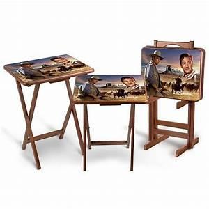 The John Wayne Tray Table Set Includes A Free Storage