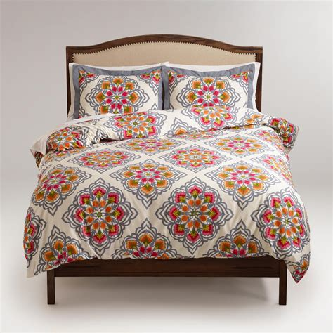 34398 world market bedding medallion duvet and pillow shams set world market