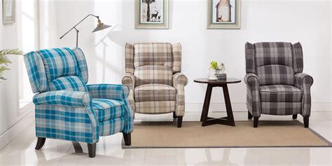 Eden Recliner Armchair In Tartan Blue