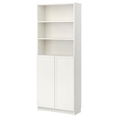 billy bookcase  doors white ikea   home