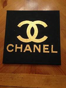 Black and Gold Glitter Chanel Canvas by RebeccaHDesigns on