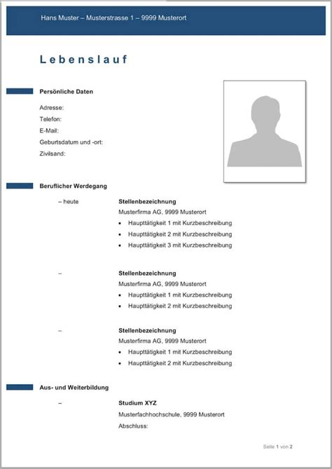 Lebenslauf Mit Bild Vorlage by Lebenslauf Vorlagen Muster Kostenlose Word Vorlage