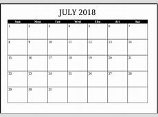 Free July 2018 Calendar in Printable Format Templates