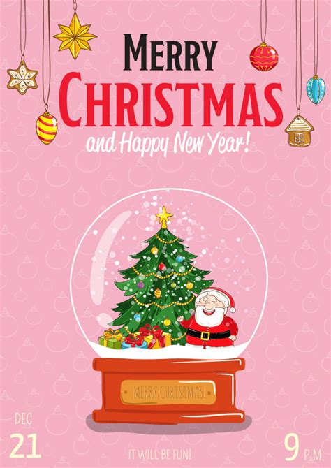 Merry christmas greeting card or invitation template for