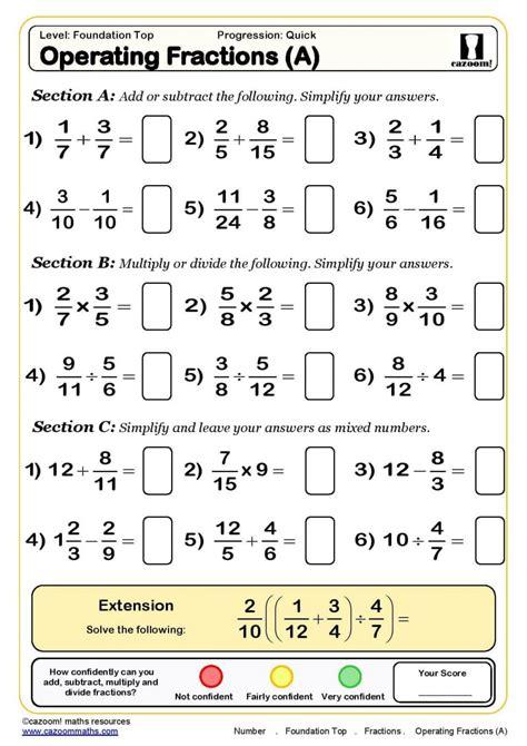 fractions worksheets for grade 7 clubdetirologrono