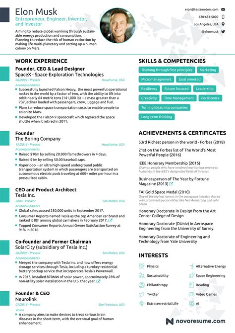 Resume 1 Page by Here S Why Everyone Is Reading Elon Musk S One Page Resume