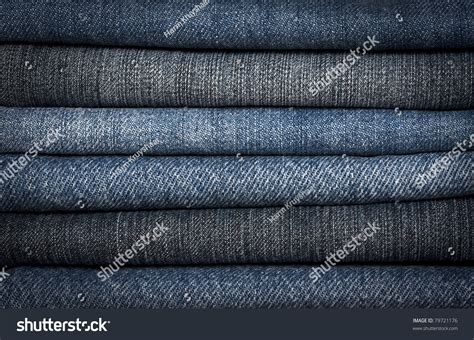 Background Pile Different Types Blue Denim Stock Photo
