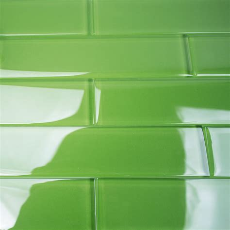 2x8 glass subway tile shop for loft electric lime 2x8 polished glass tiles at