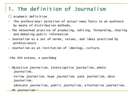 Journalism Definition by Week2 Why Journalism