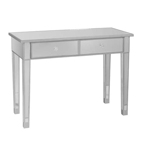 desk with drawers and mirror amazon com sei mirage mirrored 2 drawer console table