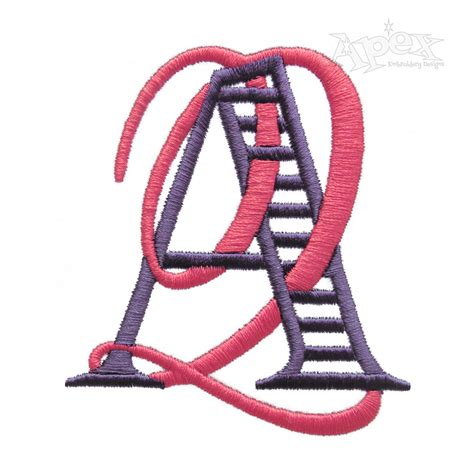 script ladders interlocking monogram embroidery font