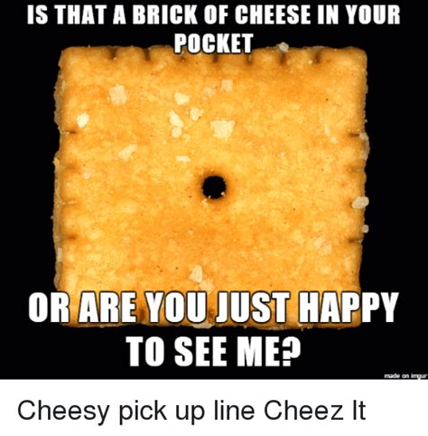 Cheez It Meme - is that a brick of cheese in your pocket or are you just happy to see mep made on imgur cheesy