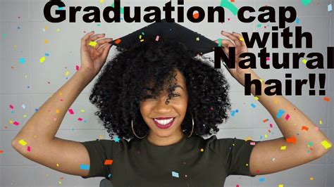 how to wear a graduation cap with big natural hair