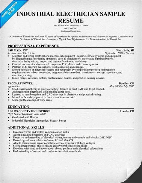 20302 journeyman electrician resume exles industrial electrician resume sle resumecompanion
