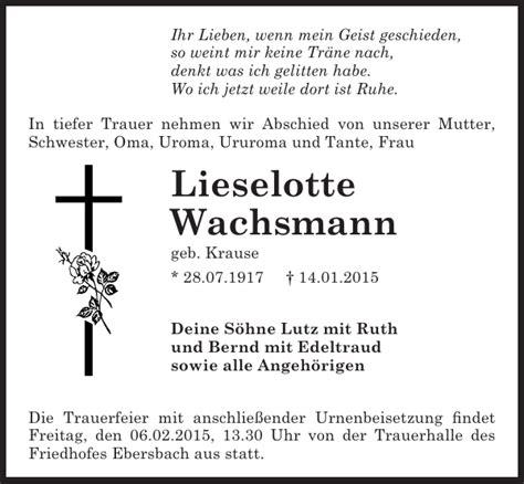 lieselotte wachsmann traueranzeige s 228 chsische zeitung