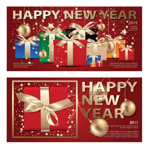 Merry christmas from sender's name. 2 banner merry christmas & happy new year template ...