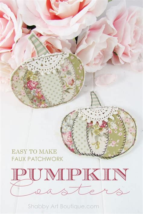 shabby fabrics patchwork pumpkin easy faux patchwork pumpkin coasters shabby art boutique