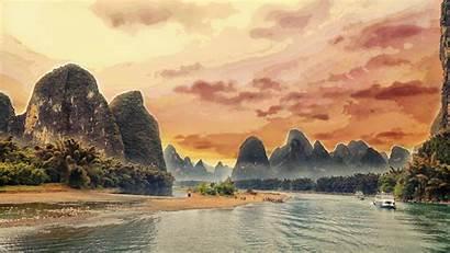 Landscape China Yangshuo River Li Guilin Wallpapers