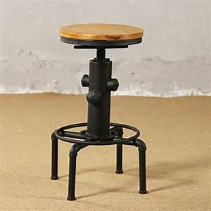 Tabouret De Bar Fer : jjzy american retro loft en fer forg rotatif chaise de bar fer cr atif tabouret de bar en bois ~ Dallasstarsshop.com Idées de Décoration