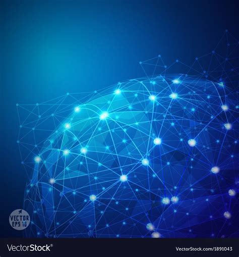 Global digital mesh network technology vector art