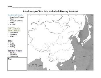 outline map of ancient china worksheet by reading humanities resources