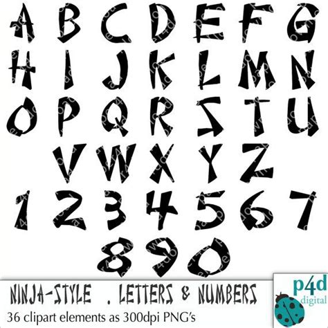 alphabet  ninja style letters  numbers clipart digital collage     pgn files